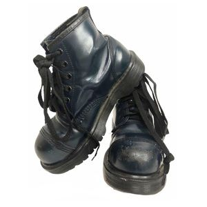 Vntg 80s Dr.Martens Steel Toe Navy Leather Boots 6